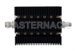 3 dB Fixed Attenuator, TNC Male To TNC Female Directional Black Anodized Aluminum Heatsink Body Rated To 100 Watts Up To 6 GHz