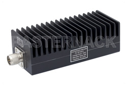 6 dB Fixed Attenuator, N Male to N Female Black Anodized Aluminum Heatsink Body Rated to 100 Watts Up to 3 GHz