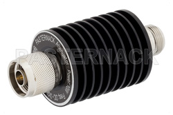 3 dB Fixed Attenuator, N Male to N Female Black Anodized Aluminum Heatsink Body Rated to 10 Watts Up to 3 GHz