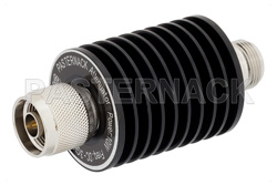 40 dB Fixed Attenuator, N Male to N Female Black Anodized Aluminum Heatsink Body Rated to 10 Watts Up to 3 GHz