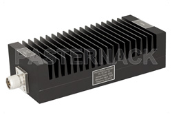 10 dB Fixed Attenuator, N Male To N Female Unidirectional Black Anodized Aluminum Heatsink Body Rated To 200 Watts Up To 3 GHz