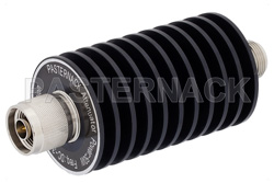 20 dB Fixed Attenuator, N Male to N Female Black Anodized Aluminum Heatsink Body Rated to 50 Watts Up to 3 GHz