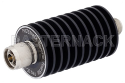 30 dB Fixed Attenuator, N Male to N Female Black Anodized Aluminum Heatsink Body Rated to 50 Watts Up to 3 GHz