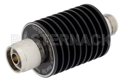 30 dB Fixed Attenuator, N Male to N Female Black Anodized Aluminum Heatsink Body Rated to 25 Watts Up to 4 GHz