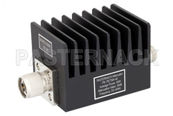 40 dB Fixed Attenuator, N Male to N Female Black Anodized Aluminum Heatsink Body Rated to 50 Watts Up to 4 GHz