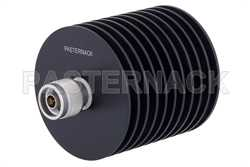 6 dB Fixed Attenuator, N Male to N Female Black Anodized Aluminum Heatsink Body Rated to 100 Watts Up to 4 GHz
