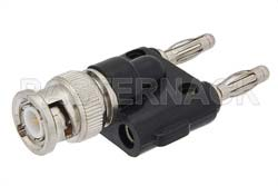 Double Banana Plug to 50 Ohm BNC Male Adapter