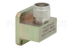WR-90 Square Cover Flange to N Male Waveguide to Coax Adapter Operating from 8.2 GHz to 12.4 GHz