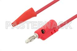 Banana Plug to Mini Alligator Clip Cable 48 Inch Length Using Red Wire