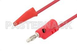 Banana Plug to Mini Alligator Clip Cable 60 Inch Length Using Red Wire