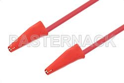Mini Alligator Clip to Mini Alligator Clip Cable 12 Inch Length Using Red Wire