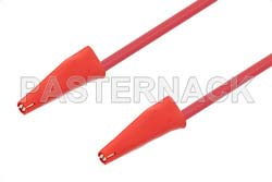 Mini Alligator Clip to Mini Alligator Clip Cable 48 Inch Length Using Red Wire