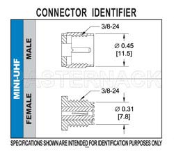 Mini UHF Male Connector Crimp/Solder Attachment for RG58, RG303, RG141, PE-C195, PE-P195, LMR-195, 0.195 inch(图2)